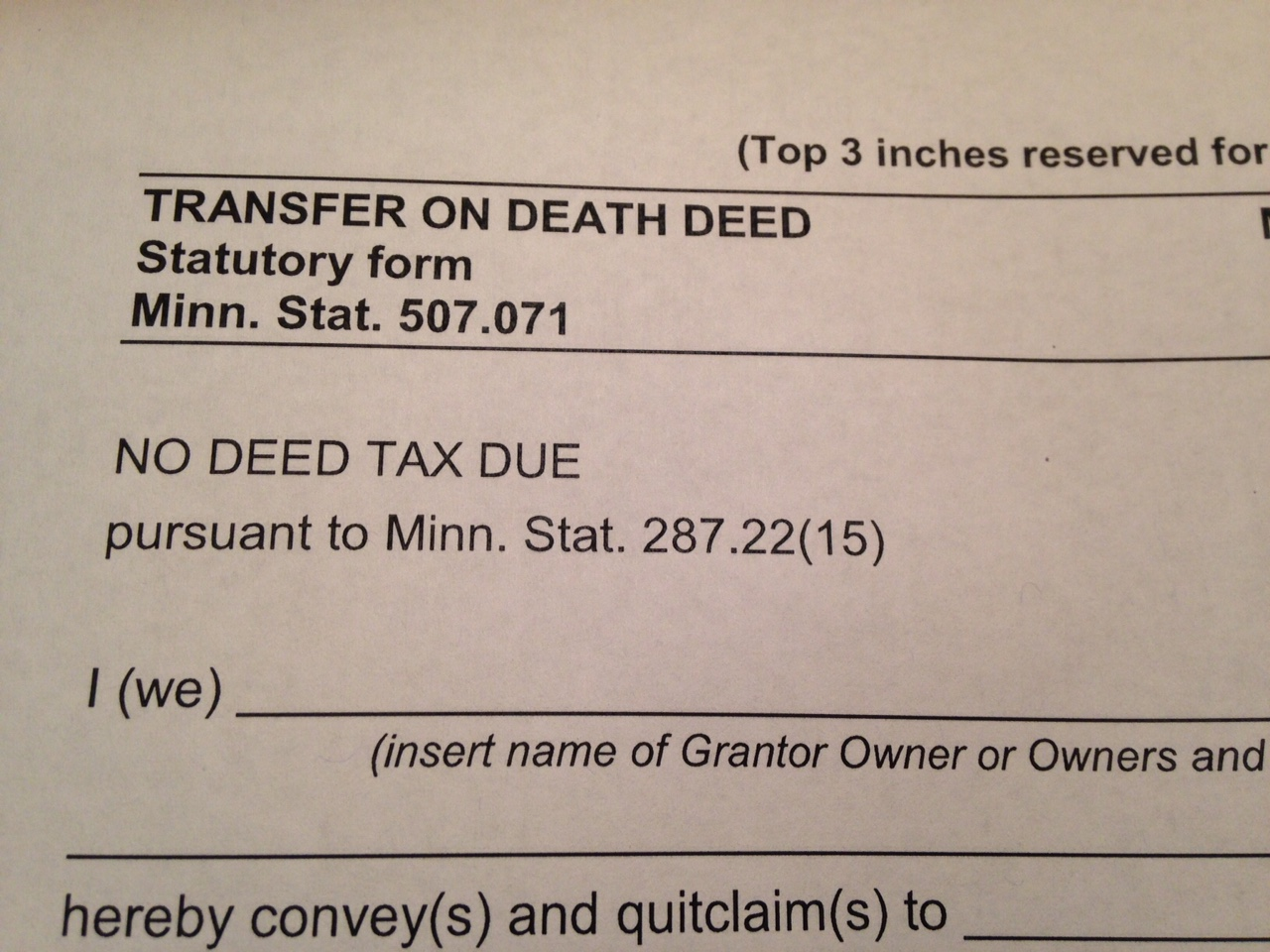 Transfer on Death Deed - Minnesota Form for a TODD